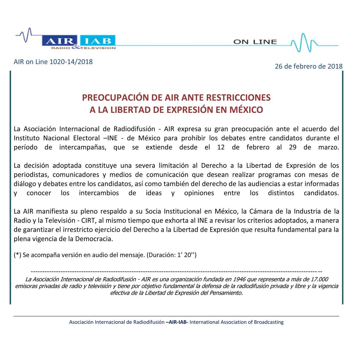 AIR-IAB EXPRESA PREOCUPACIÓN POR LIBERTAD DE EXPRESIÓN EN MÉXICO