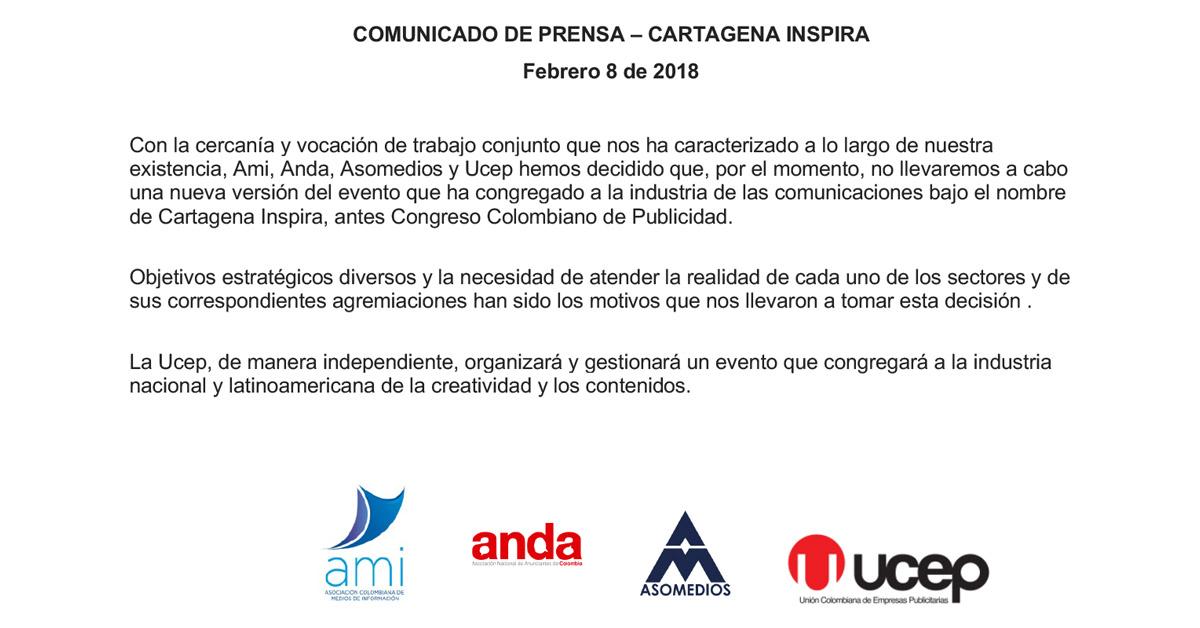 COMUNICADO DE PRENSA RESPECTO A EL CONGRESO CARTAGENA INSPIRA