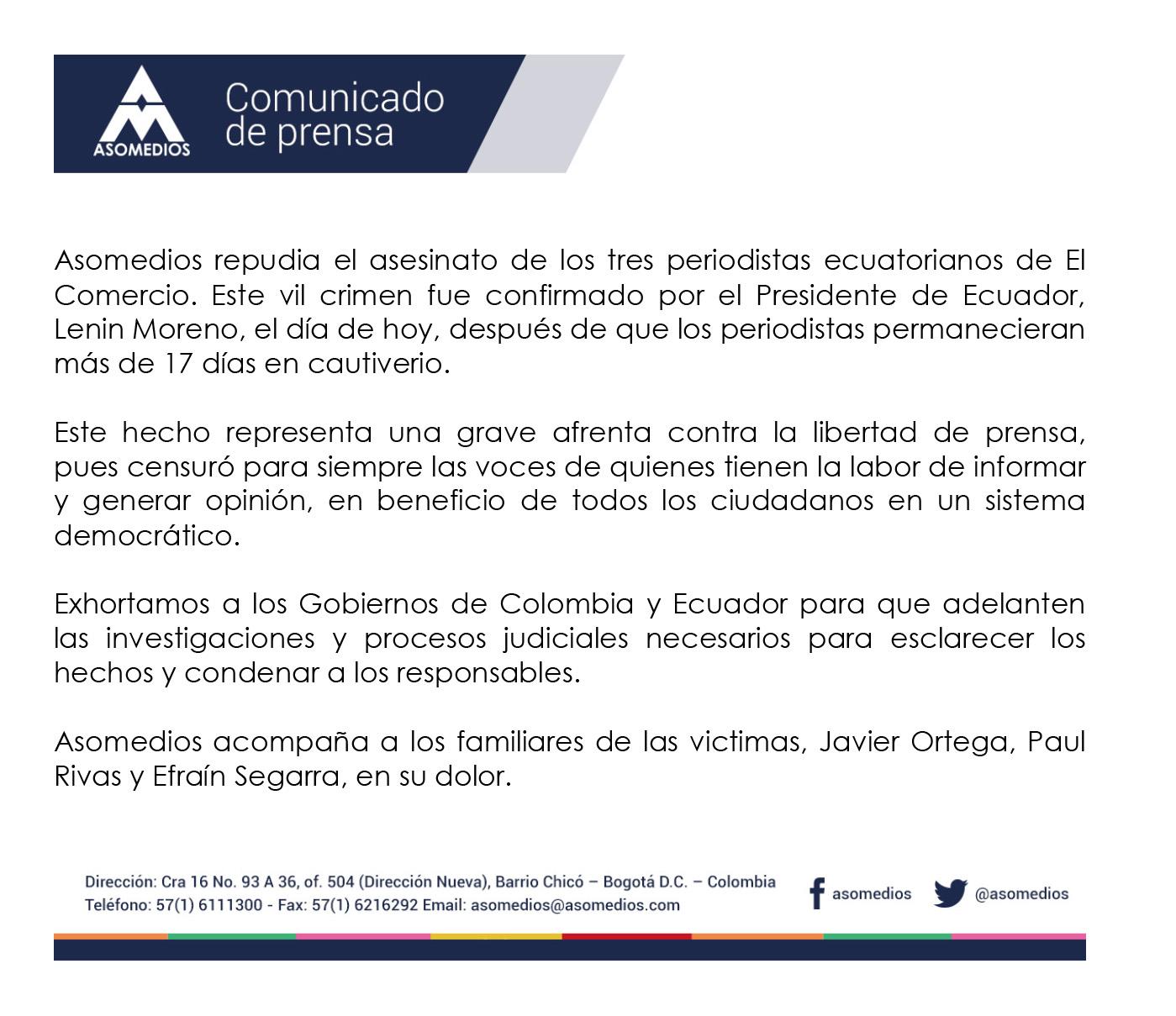 COMUNICADO DE PRENSA RESPECTO AL ASESINATO DE LOS 3 PERIODISTAS DE ECUADOR