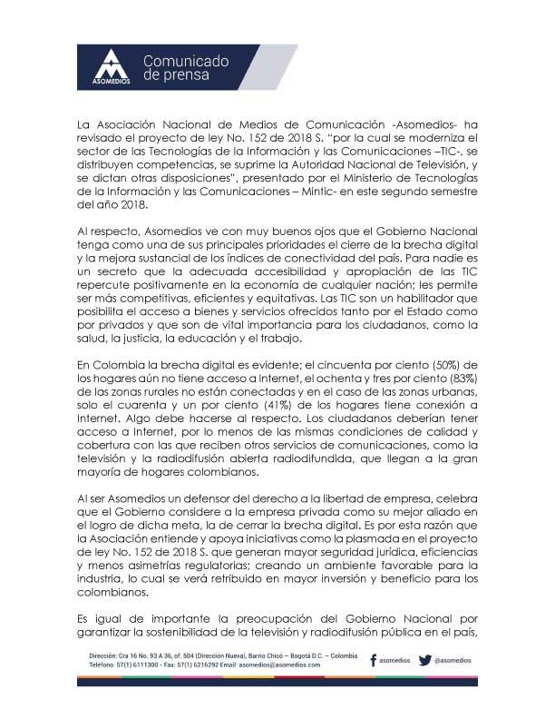 Comunicado de Prensa frente al proyecto de ley 152/18 S, sobre modernización del sector TIC