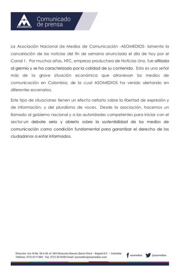 Comunicado de prensa sobre la cancelación de Noticias Uno
