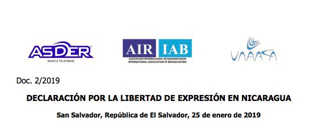 DECLARACIÓN FINAL SOBRE ENCUENTRO DE RADIODIFUSORES POR LA LIBERTAD DE EXPRESIÓN EN NICARAGUA