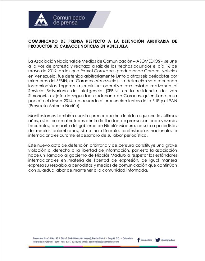 Comunicado de prensa respecto a la detención arbitraria de productor de Caracol Noticias en Venezuela